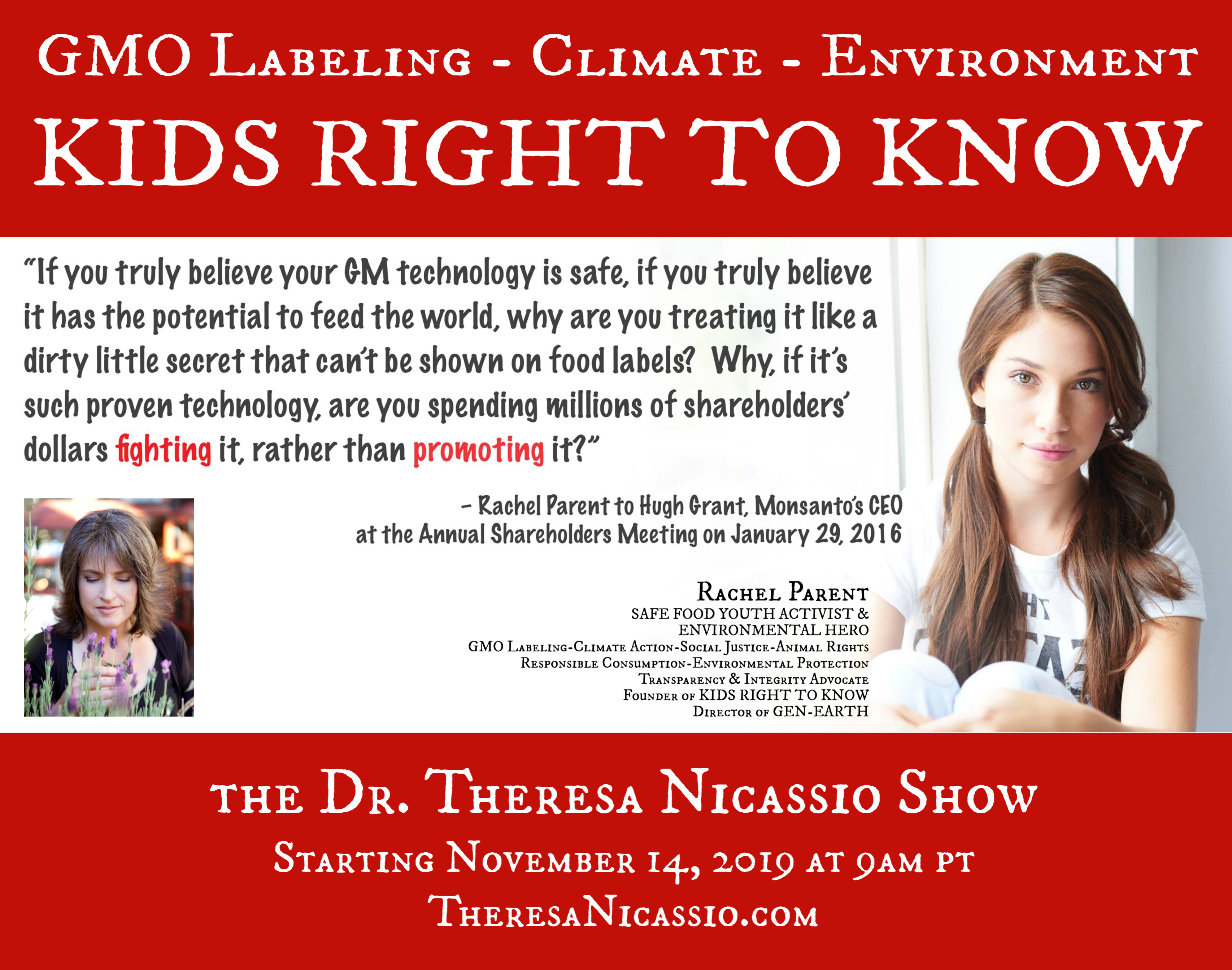 Rachel Parent SAFE FOOD YOUTH ACTIVIST, GMO Labeling Advocate, and ENVIRONMENTAL HERO on The Dr. Theresa Nicassio Show on Healthy Life Radio.