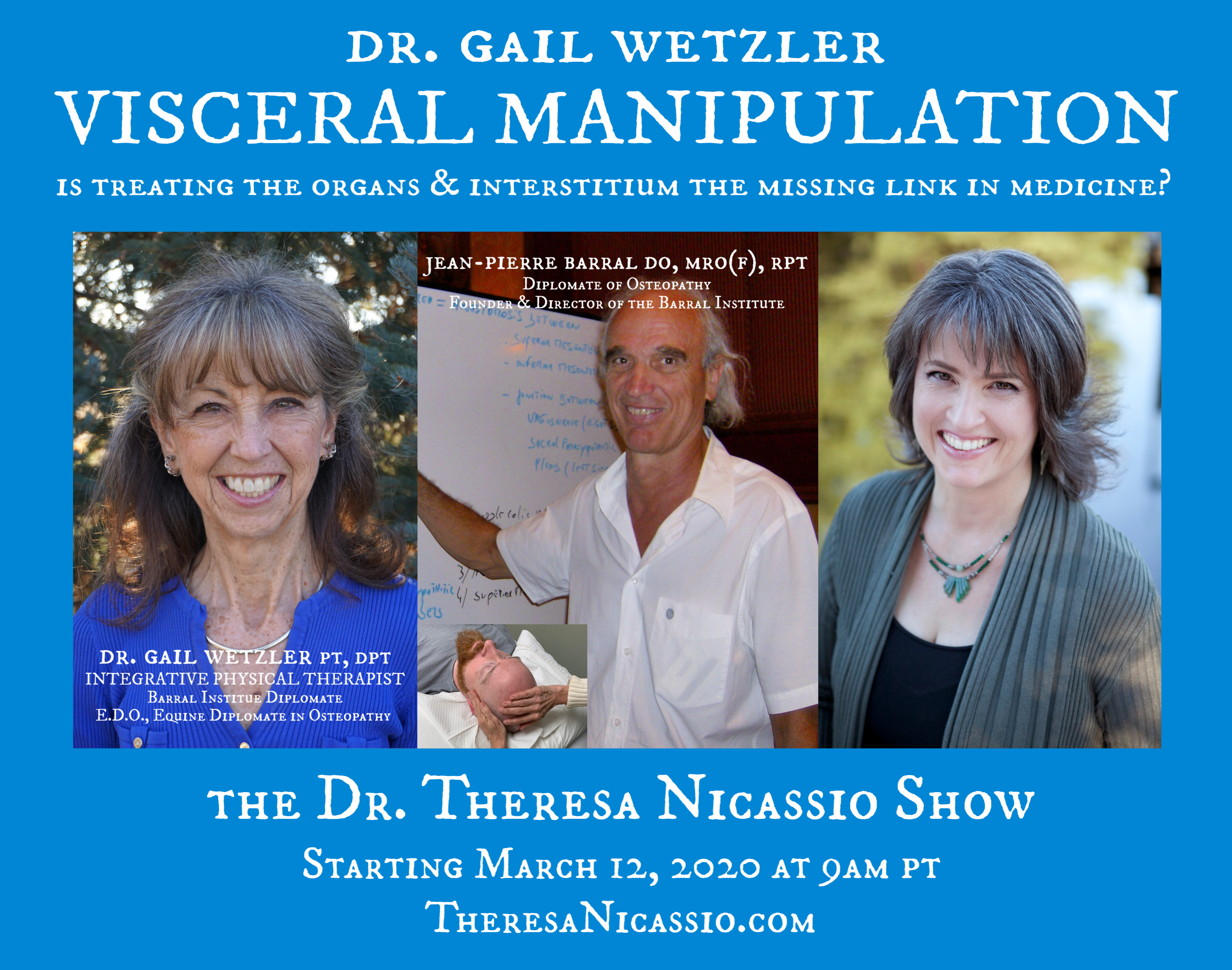 Hear Curriculum Director of the Barral Institute,  Dr. Gail Wetzler, talk about Visceral Manipulation modalities and the interrelationships of the deeper connective tissues in our body (visceral, neurological, vascular) to muscular/skeletal, cellular, cognitive, and emotional challenges. Dr. Gail will also talk about the Osteopathic Legend - Pioneer, Diplomate, and Physical Therapist, Jean-Pierre Barral, who has opened doors for healing structural and functional health conditions never before thought possible, shifting the core benefits of Visceral Manipulation treatments for patient care from adjunctive to center stage.