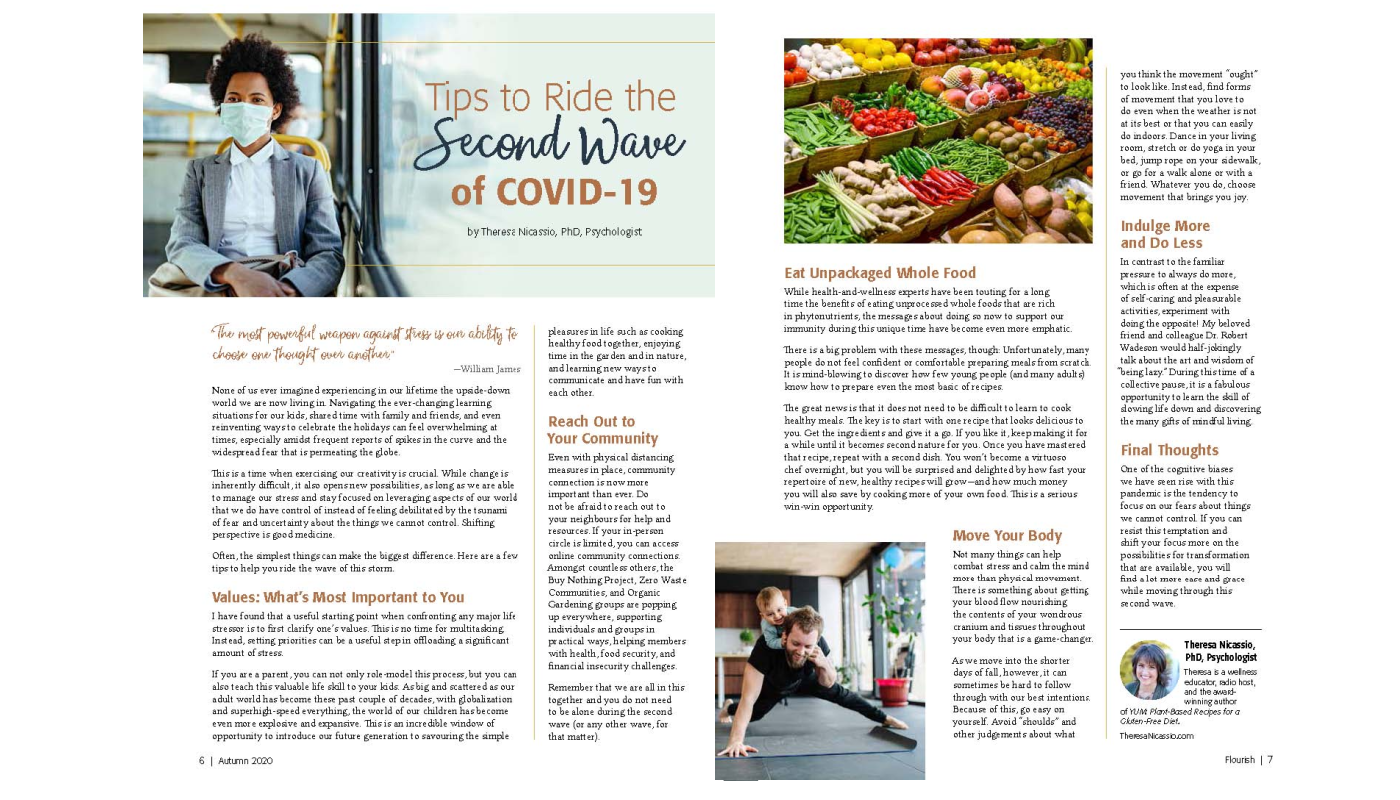 Tips to Ride the Second Wave of COVID-19 by Theresa Nicassio, PhD, Psychologist in FLOURISH Magazine - Autumn 2020